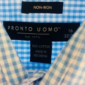Pronto Uomo Shirts - Pronto Uomo Spread Collar Dress Shirt 16x32-33
